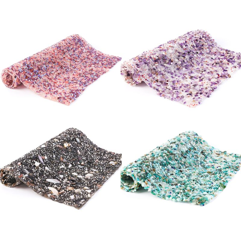 Glitter Colorful Shell Stone Beads Trim Iron On Rhinestone Mesh Hot-Melt Decal Sticker For DIY Clothes Car Decoration