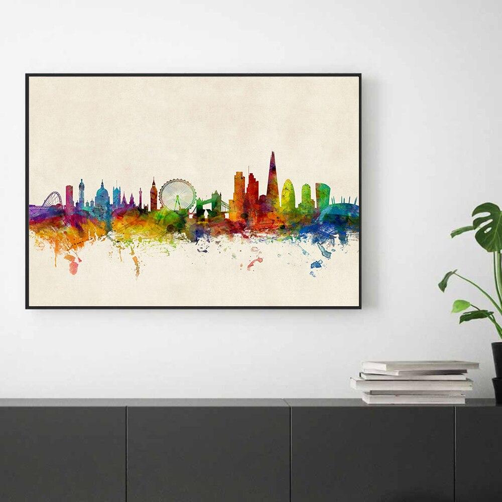 Pósteres de paisaje urbano de Londres, imagen artística de pared de Color moderno, imágenes artísticas, pintura en lienzo para la decoración del dormitorio y la sala de estar