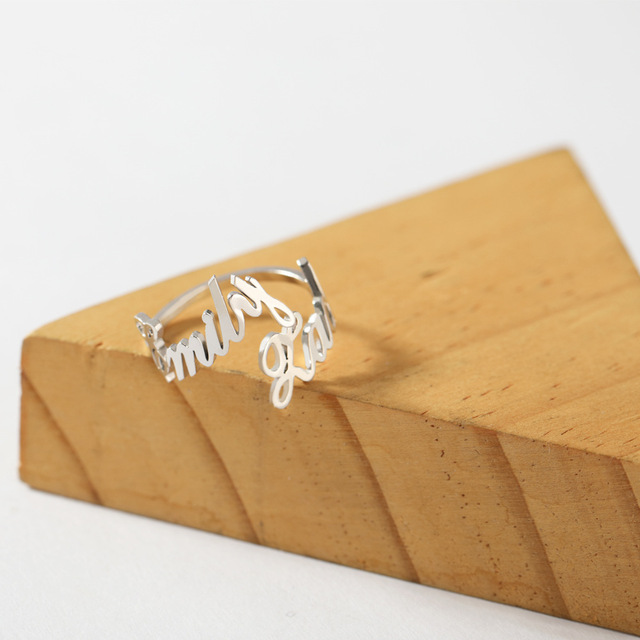 DOREMI Gold Custom Name Initial Ring Doul Letter Birthstone Ring Gold Alphabet Love Couple Rings for Personalized Jewelry