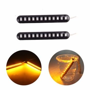 2PCS ไฟเลี้ยว LED Strip รถจักรยานยนต์ Blinker น้ำไหลเบรคไฟแสดงสถานะ Universal รถจักรยานยนต์กระพริบสัญญาณ