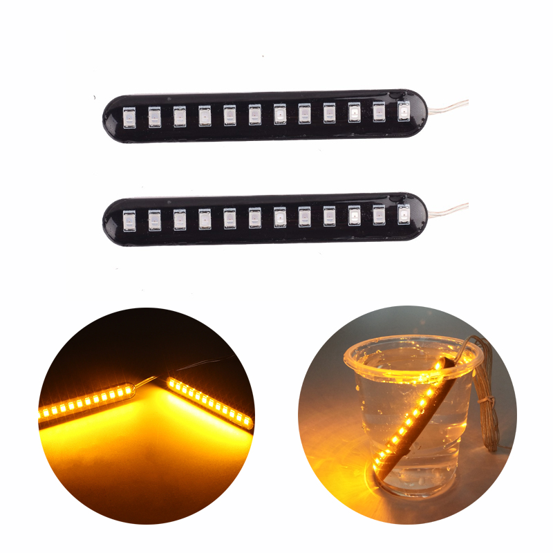 2PCS LED Turn Signals Strip Motorcycle Blinker Flowing Water Tail Brake Lights Indicator Universal Motorcycle Flashing Signals