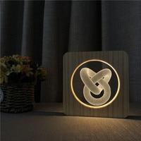 Love knot Abstract Wood Night Light Decor Nightlight USB Desk Table Lamp 3D Visual Bedroom Baby Child Gift Wood Decorative Light