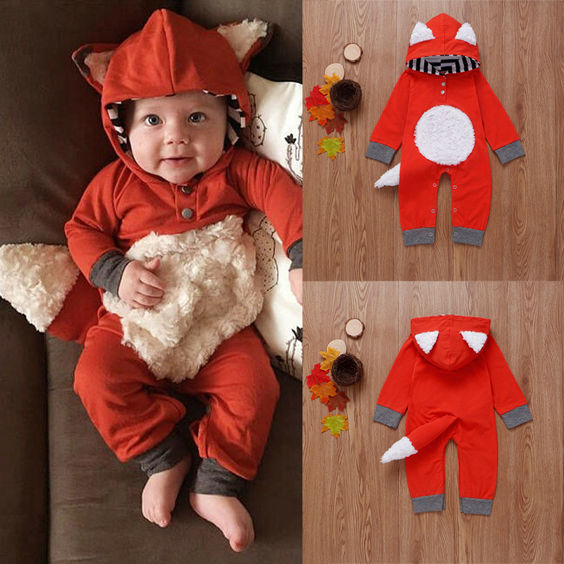 Newborn Infant Baby Boy Girl Fox Romper Hooded Jumpsuit Bodysuit Outfits Clothes