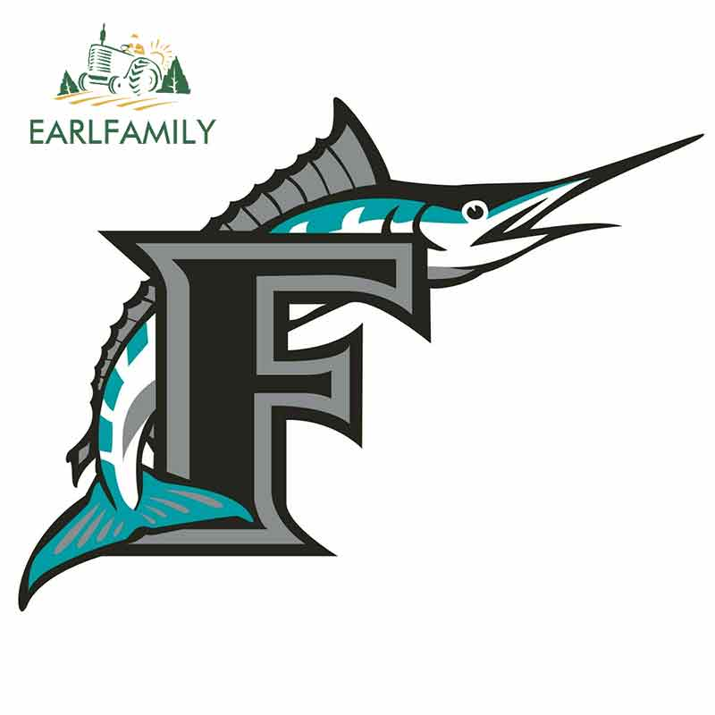 EARLFAMILY 13cm X 10.1cm For Miami Florida Marlins Cartoon Fine Decal Funny Car Stickers RV VAN DIY Bumper Trunk Truck Graphics
