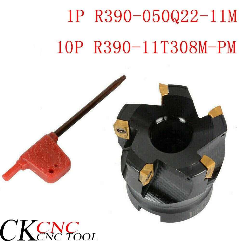 1pcs R390-050Q22-11M 5 Flute CNC Lathe Face Milling Cutter  10PCS R390-11T308M-PM Turning Tool Carbide Milling Cutter Insert
