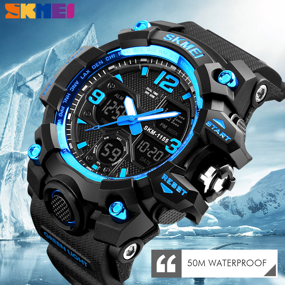 SKMEI New Fashion Men Sports Watches LED Bright Watches Quartz Wristwatches Digital Clock Military Camouflage Waterproof Watch