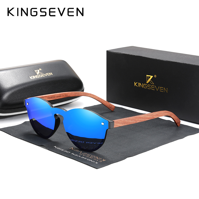 Custom LOGO Natural Wooden Sunglasses KINGSEVEN Bubinga Men's Polarized Glasses Wooden Fashion Sun Glasses Original Accessories 10