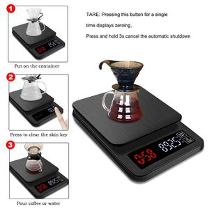 Image 2 - yieryi LCD Digital Electronic Drip Coffee Scale with Timer 3kg 5kg 0.1g Digital coffee weight Household Drip Scale Timer