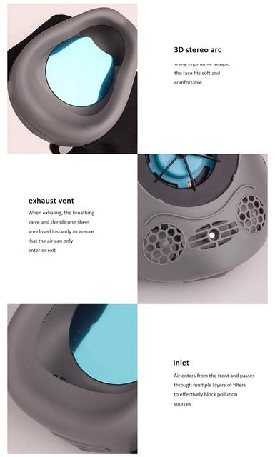 Smart Electric Face Mask Anti Dust Automatic Air Supply Adult Electronic Face Mouth Mask Filter Reuseable Dustproof Waterproof 5