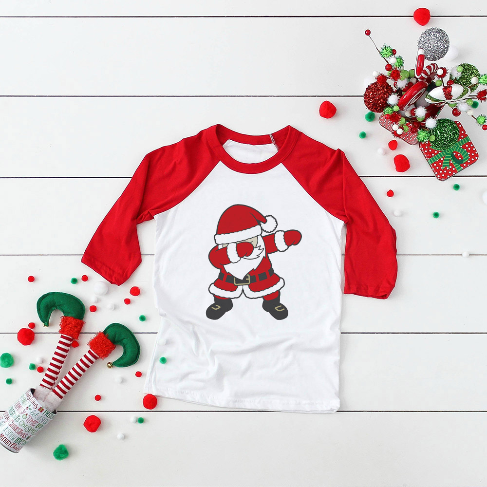Kids Girls Boys Dabbing Christmas T-shirts Clothes Baby Santa Claus T Shirt Children Clothing Tops Tshirt T-shirt Baseball Tees 6