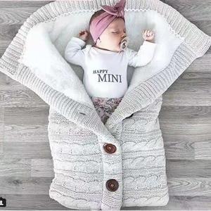 Image 2 - Warm Blanket Soft Baby Sleeping Bag Footmuff Cotton Knitting Envelope New Born Boy Girl Swad Wrap Accessories Sleepsacks Fashion
