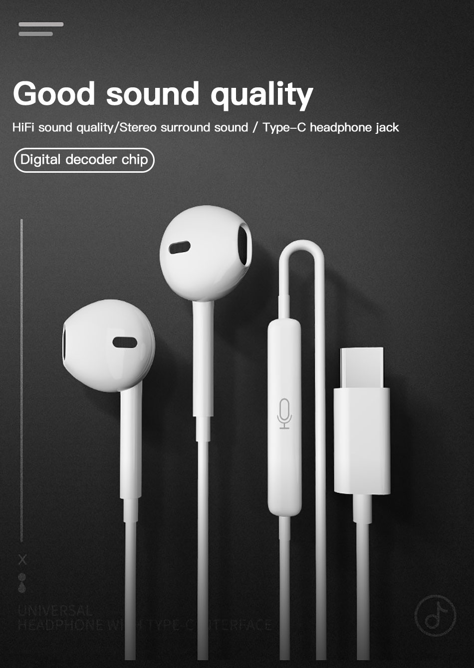!ACCEZZ Type C In-Ear Earphone Wire Control For Xiaomi Mix 3 Samsung S10 Huawei P30 P20 Phone Support Answer Call Music Earphone With Mic (1)