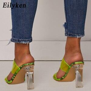 Image 5 - Eilyken PVC 투명 슬리퍼 오픈 발가락 섹시한 사문석 하이힐 크리스탈 여성화 투명 하이힐 11cm 슬리퍼