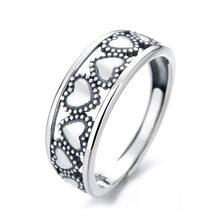 Nova s925 prata esterlina abertura ajustável coração-em forma de amor presente feminino anel de jóias