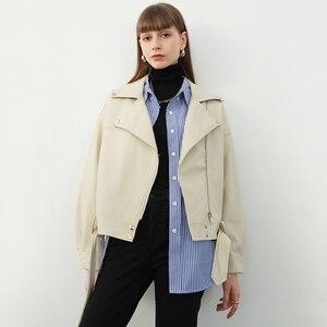 Image 3 - [EAM] 2020 nowa wiosna jesień Lapel długim rękawem moreli Pu skóra luźne duży rozmiar krótka kurtka kobiety płaszcz moda fala JX445