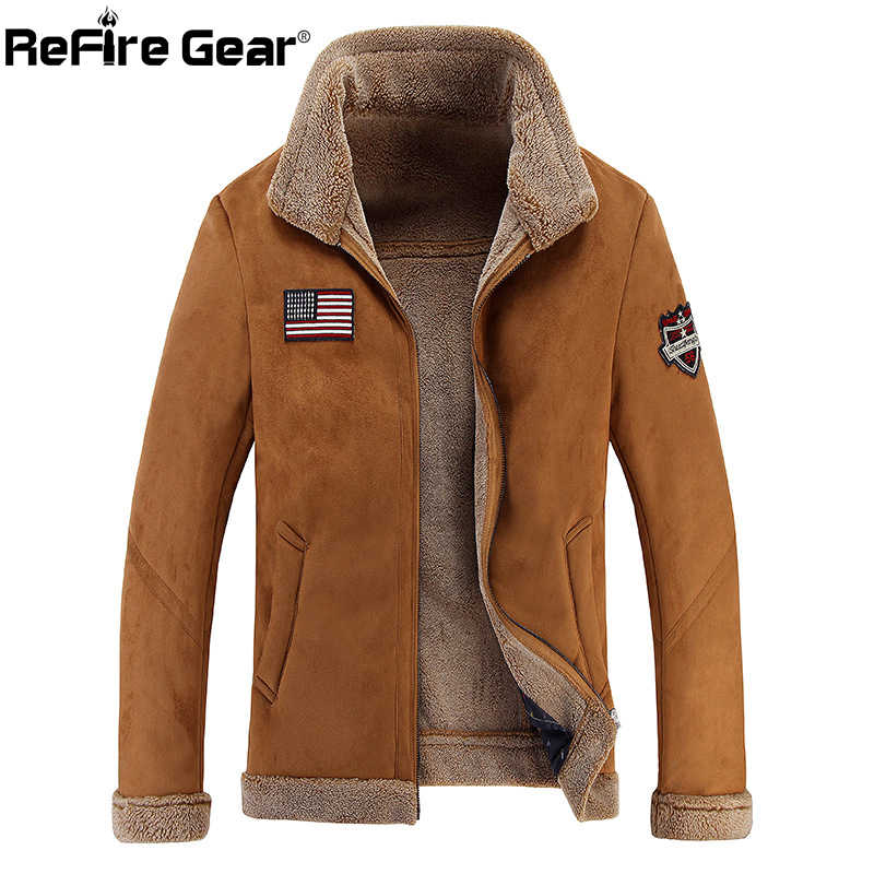 ReFire Gear Wool Liner Bomber Military Jacket Men Pilot Army Combat Tactical Jacket Winter Warm Thick Fleece Casual Outwear Coat