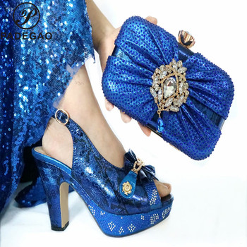 Fashion Women Blue Sandals And Bag Set To MatchHigh Quality Nigerian Shoes With Matching Bags For Wedding Party