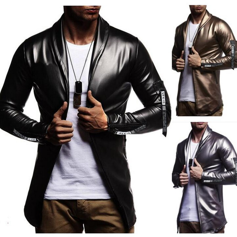 Night Club Leather Jacket Men New Fashion Slim Fit Motorcycle Leather Jacket Golden/Silver Blazer Jacket Male Leather Coat-in Faux Leather Coats from Men's Clothing