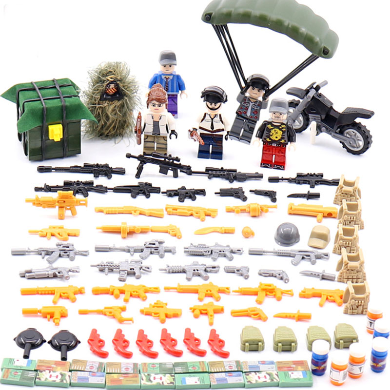 6Pcs Legoinglys PUBG Military Figures With Weapons Block Swat Battleground FPS Game Building Brick Toy For Kids
