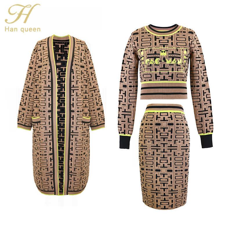 H Han queen women's 2019 осень зима комплект из 3 предметов трикотажные жаккардовые пуловеры свитер и обтягиваюшие юбки, юбка-карандаш и длинные кардиганы
