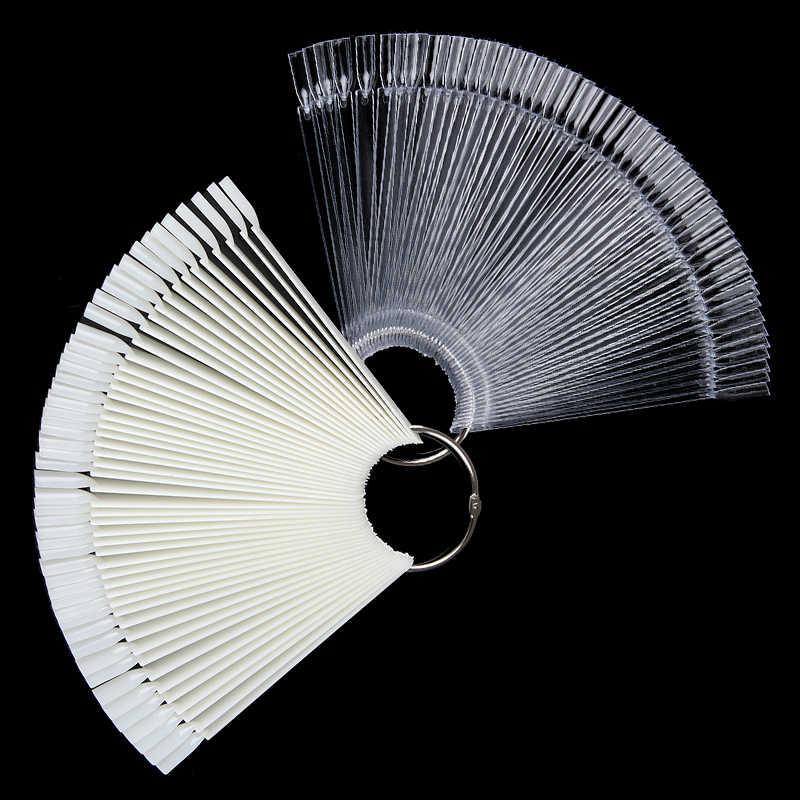 Karta kolorów sztuczne tipsy Fan przezroczysty biały fałszywe tipsy nail Art Practice Display Design Tools