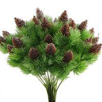 인공 소나무 콘으로 4PCS 가짜 삼나무 소나무 가지 플라스틱 관목 가짜 녹지 부시 번들 테이블 중앙 장식품 Arrangem