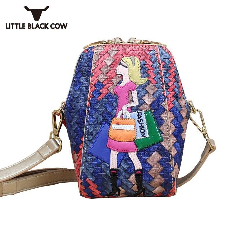 Femmes Kawaii Cartoon broderie lambrissée Mini sac emballage de téléphone Mobile petit sac à bandoulière Pu cuir pochette rabat Messenger sacs