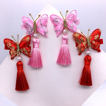 Costume literary hairpin Hanfu accessories double butterfly tassel head flower hairpin ancient style kids hair accessories hot style chinese style headdress fairy hanfu super fairy children antique style retro tassel ribbon hairpin hair accessories