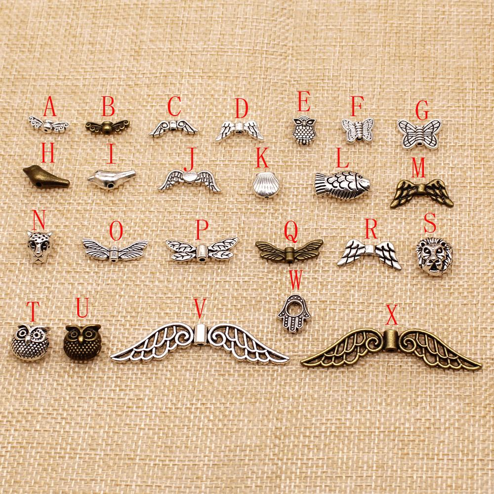 20 Pcs Metal Bronze Silver Wings Charms Pendant For Jewelry Making Jewelry Making Supplies image