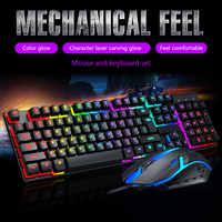 2021 New TF200 Rainbow Backlit USB Ergonomic Gaming Keyboard Mechanical Keyboard and Mouse Kit for PC Gaming Keyboard Kit