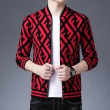 2021 men's soft wool knitted zipper jacket cardigan pullover sweater autumn men's pattern zipper cardigan outer wear new track s