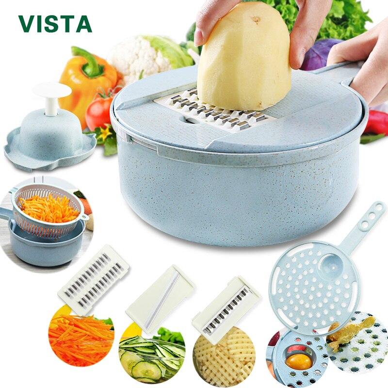 Rebanadora de mandolina rebanadora de verduras pelador de patatas zanahoria cebolla Rallador con colador cortador de verduras 8 en 1 accesorios de cocina