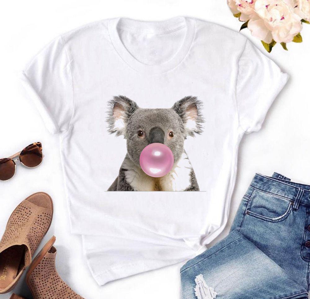 Koala Chewing Gum Print Women T Shirt Summer Harajuku Casual Funny T-shirt White Hipster Tee Shirt Femme Vogue Top