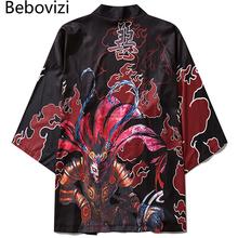 Bebovizi styl japoński kimono sweter Cardigan mężczyźni kobiety Samurai druku zwykłe ubrania luźne lato Cosplay Yukata azji ubrania tanie tanio Poliester Trzy czwarte