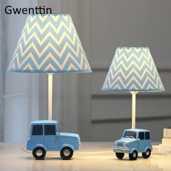 Мультяшная Автомобильная настольная лампа для детской комнаты для мальчиков, детская спальня, современные Настольная лампа, настольная Св...