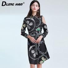 LINGHAN Vintage Print Dress Fashion Lace up Beaded off Strapless Long sleeve Par