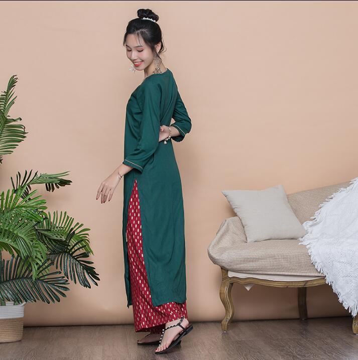 Woman Fashion Ethnic Styles Retro Sets Cotton Embroidery India Kurtas Three Quarter Sleeves Long Thin Top Pants
