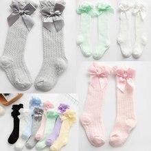 Children's Socks Mesh Bow Baby's Socks Summer Thin Anti-Mosquito Socks Bubble Mouth Vertical