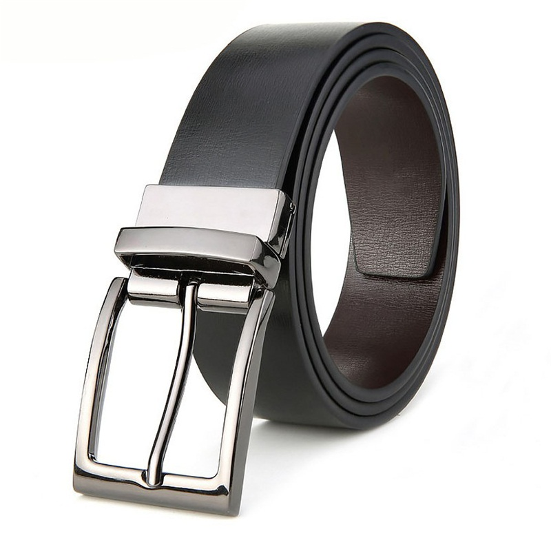 Double-sided Men's Genuine Leather Belt Reversible Belt For Causal Classic High Quality Pin Buckle Male Belt