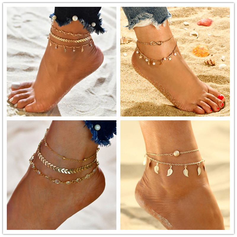 Bohemian Beads Ankle for Women Leg Chain Round Tassel Anklet Vintage Foot Jewelry Accessories anklets set fashion beach new