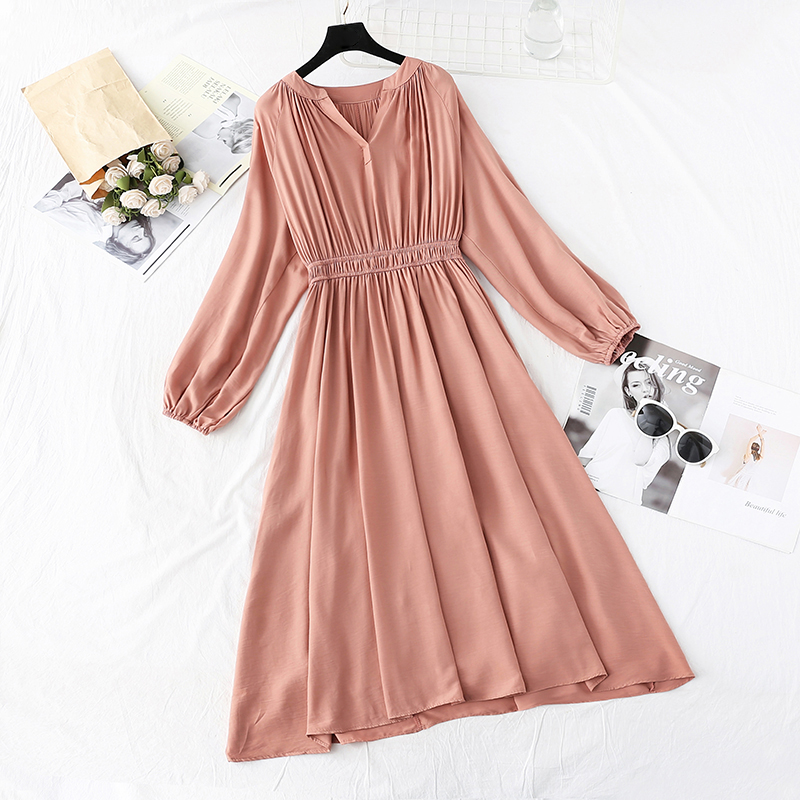 Fashion spring new autumn long V-neck mid-length dress party ladies casual elegant high waist Solid color dress Vestidos