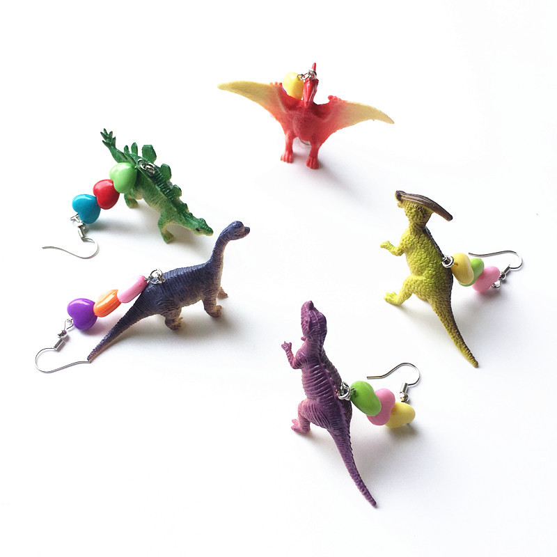 Cute Exquisite Resin Dinosaur Animals Drop Earrings Punk Party Cool Earring For Women Fashion Jewelry Wholesale Bijoux