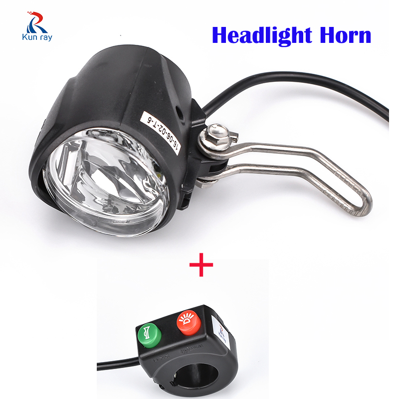 12-80V Wu Xing  Ebike Headlight With Horn And Speaker Electric Scooter Switch Used  For Xiaomi M365 Electric Bicycle Light Horn