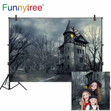 Funnytree thin Vinyl Photography Backdrops barren horror old ancient castle weak light grey printing studio photo backgrounds