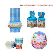 30 + szt. Cocomelon Theme materiały urodzinowe dla dzieci chłopcy Baby Shower papierowe talerze i kubki Nakpin słomiane balony dekoracje świąteczne