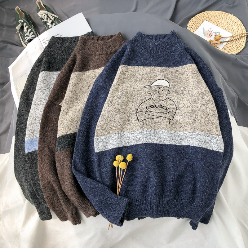UYUK2019 Fall Trend Fashion Loose Casual Quality Korean Version Of The Simple Wild Cartoon Image Men's Thick Needle  Sweaters