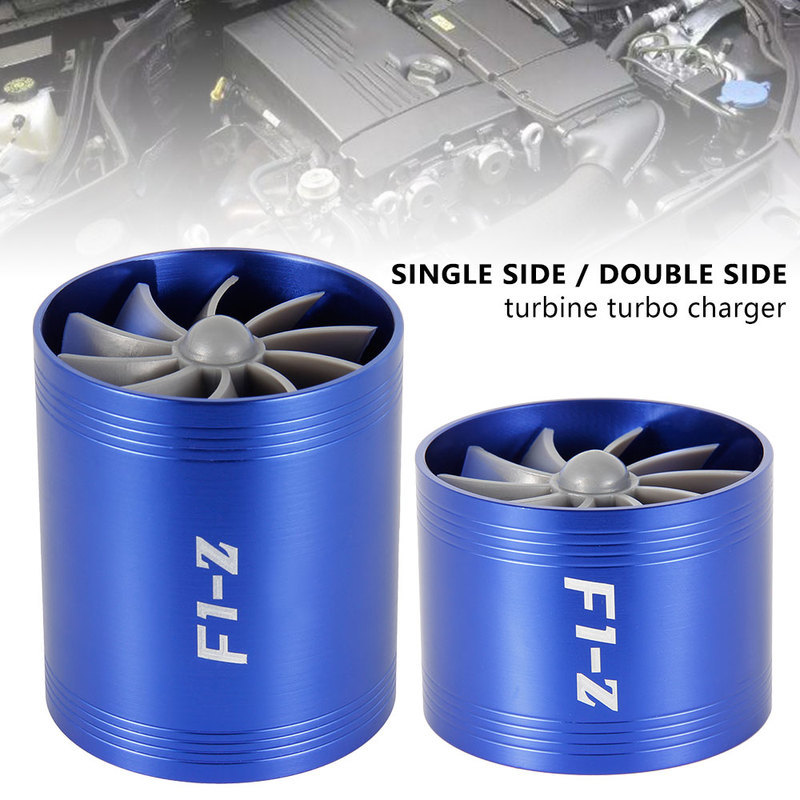 Car Turbine Supercharger F1 Z Turbo Charger Single Double Air Filter Intake Fan Fuel Gas Saver Kit Auto Replacement Part-in Air Intakes from Automobiles & Motorcycles