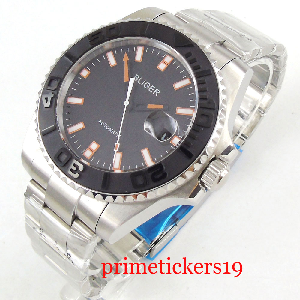 Orange marks 43mm men's watch black dial luminous black ceramic bezel date automatic movement mens watch