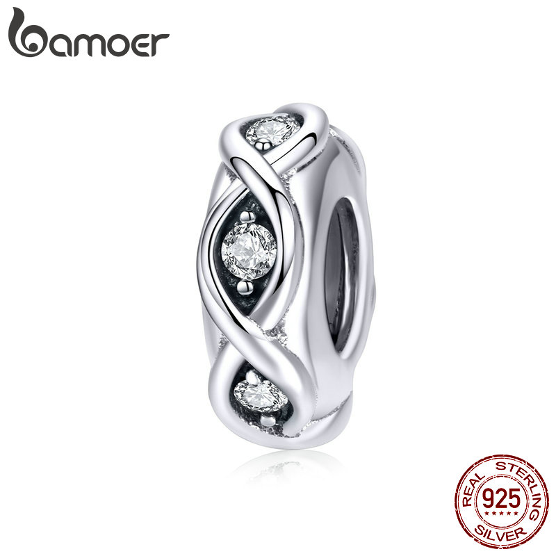 BAMOER Sterling Silver 925 Clear CZ Infinity Love Charm Fit Brand Bracelet And Bangles Tibetan Silver Fine Jewelry SCC1153