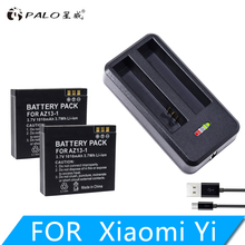 NEW High Quality 2Pcs 1010mah YI AZ13-1 battery + USB Dual Charger For Xiaomi yi Action Camera xiaomi yi accessories цена и фото